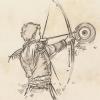 Skizze: Phexdan schießt mit Bogen