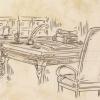 Skizze: Garions Schreibtisch