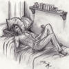 Leichtbekleidet und liegend (gezeichnet von Drag)