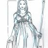 Skizze von Isabella in ihrem neuen Kleid