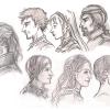 Profile in Bleistift und Marker - Voltan, Phexdan, Lanyana, Salpico, Rychard, Neferu, Garion